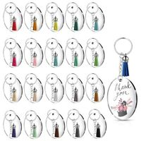 Round Key Chain,Transparent Acrylic Key Chain Blank and Tassel Pendant Key C6G3
