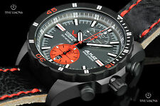Vostok-Europe Almaz 47mm Black PVD Plated LE Leather Strap Watch - 6S11-320C260