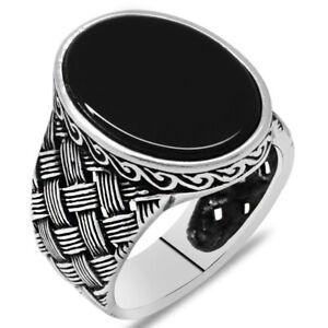 Solid 925 Sterling Silver Knitting Design Flat Black Onyx Stone Men's Ring