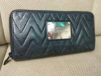 Thomas Burberry 90's Vintage Womens Leather Long Wallet Black Evening Clutch