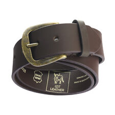 Men's Brown Leather Jeans belt Brushed Brass buckle Genuine Leather