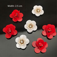 3D Flower Red Sequins Beaded Flower Blossom Applique For DIY Craft Project 5 Pc