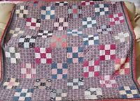 WONDERFUL ANTIQUE PATCHWORK QUILT c 1880s
