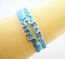 New Puzzle Autism Awareness Ribbon Charms Leather Braided Bracelet-Sky Blue