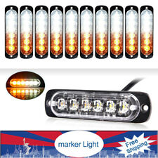 10x Amber/White Car 6 Led Emergency Warning Flash Strobe Light Kit Bar Led Lamps