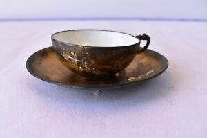 Antique Sterling Silver Cup Saucer Engraved Medallion Monogrammed Ck Hallmark *K