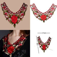Lace Collar Trims DIY Flower Embroidery Neckline Sewing Applique Patches Fabric