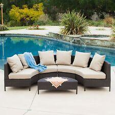 (5-Piece) Elegant Outdoor Patio Furniture Dark Brown PE Wicker Sofa Sectional