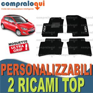per HYUNDAI i20 (2008>) TAPPETINI per AUTO SU MISURA in MOQUETTE + 2 RICAMI TOP