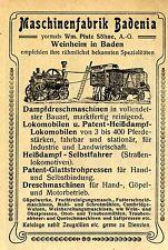 Maschinenfabrik Badenia vorm. Wm. Platz Söhne Weinheim i. Baden Reklame 1911