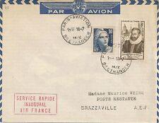 LETTRE PAR AVION PARIS AVIATION POUR BRAZZAVILLE AEF POSTE RESTANTE 1946