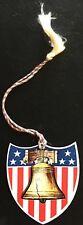 Patriotic Celluloid Bookmark ~ Liberty Bell w Stars & Stripes ~ Die Cut Shield