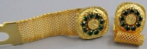 Mens Vintage Forest Green Crystals MESH WRAP AROUND CUFFLINKS N 11