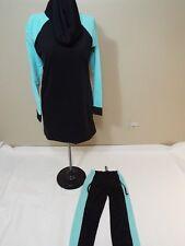 Women Full Cover Swimsuit 2 pc Modest Bathing Suit Swimwear black aqua blue S