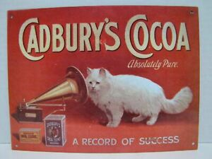 CADBURY'S COCOA TIN METAL SIGN A RECORD OF SUCCESS ABSOLUTELY PURE
