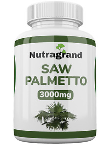 Saw Palmetto 3000mg  Vegan Tablets Huge 20:1 Extract 6 Month to 1 Year Supply