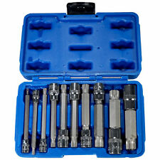 "10pc XZN Triple Square Long Spline Socket Bit Set 1/4"" 3/8"" 1/2"" Tamper Proof"