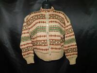 Vintage Marle Design Norway M Brown Red Green Wool Cardigan Sweater Nordic Knit