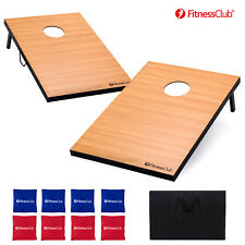 Classic Wooden Cornhole Board Set Bean Bag Toss Game Backyard 8 Bags w/Carry Bag