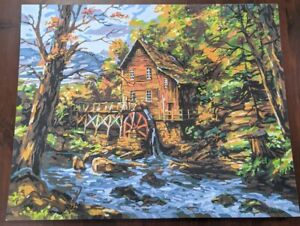COMPLETED Paint By Number 20x16 Rocky Creek mill cabin woods Painting Mountains