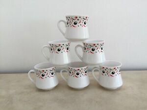 Hansa Fine Bone China Espresso Demitasse Cups (6) White Unique Shape & Design