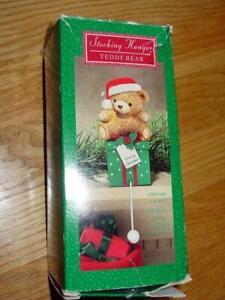 Vintage Hallmark Cards : Teddy Bear on Package - Stocking Hanger #XSH6423 (box)