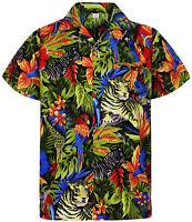 Funky Hawaiihemd, Dschungel, schwarz, XS-12XL