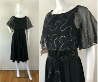 Vintage 1960s Dress Medium Belted Mod Abstract Gold Spots Black Knit Caped Shift