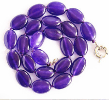 Stunning natural 13x18mm Amethyst oval gemstone necklace knot 18 ""