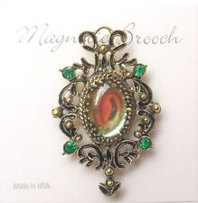 Magnetic Brooch Clip Clasp Pin Vintage Style Glass Rhinestones Scarves Shawl