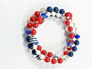 Artisan Red White Blue Stars Stripes Acrylic Millefiori Bead Wrap Bracelet