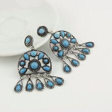 ORECCHINI VINTAGE PIETRE AZZURRE 4,0 CM - Brand Jewelry Bohemian style vintage