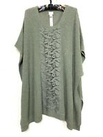 Chicos Green Metallic Shimmer Open Weave Knit Boxy Poncho Sweater Top Sz L XL