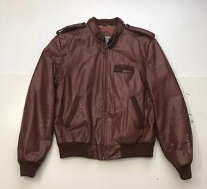 Vintage Mens Members Only Cafe Racer Leather Jacket Moto Biker Brown Size 40