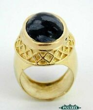 New 14k Yellow Gold Snowflake Obsidian Ring