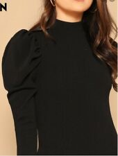 SHEIN Black Ribbed Puff Sleeve Top Size L 14-16
