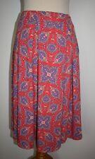 New LuLaRoe Skirt Madison Pleated A-Line Stretch Knit Red Purple Paisley XL