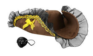 Women's Tricorn Pirate Buccaneers Hat and Sequin Eyepatch Costume Accessory Set