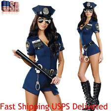Women Sexy Police Officer Cop Adult Cosplay Halloween Costume Complete Outfit US