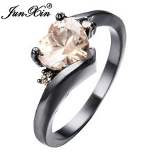 JUNXIN Heart Champagne Topaz Promise Ring Black Gold Jewelry For Women Size 6-11