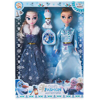 3PCS Playset Frozen Princess Elsa Anna Olaf Doll Figures Birthday Gifts For Kids