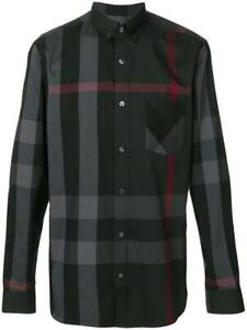 Burberry brit men's charcoal long sleeve button down exploded check shirt s,m,l,