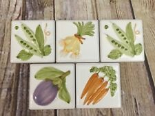 Kitchen Ceramic 4 x 4 Tiles Embossed Relief Vegetables Hand Painted Set of 5