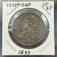 1833 US Capped Bust Half Dollar Early Silver 50c Collectible VF-EF Coin 727202GO