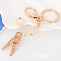 Key Ring Handbag Pendant Fashion Rhinestone Scissors Shape Metal Key Chain
