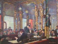 Painting Social Scene Bar Deco Cafe Royal Allinson People Busy Art Print Cc952