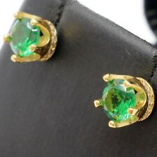 Vintage 1CT Round Emerald Stud Earrings Women Wedding Jewelry Yellow Gold Plated