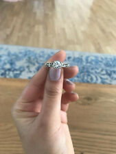 Swarovski ring - silver - round - band with stones - size 52