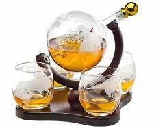 Godinger Whiskey Decanter Globe Set with 4 Etched Globe Whisky Glasses - for Liq