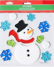 NEW Christmas Frosty the Snowman window Gel Clings 13 pcs Snowflakes Decorations